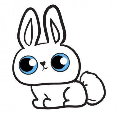 White rabbit with blue eyes