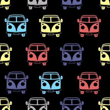 camper van, seamless pattern.