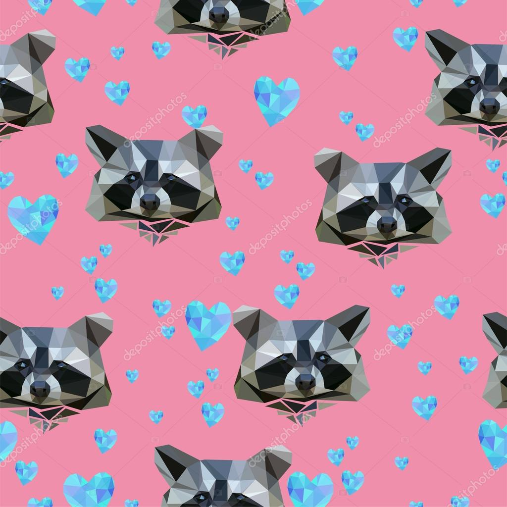 Card for valentine's day with raccoons and hearts