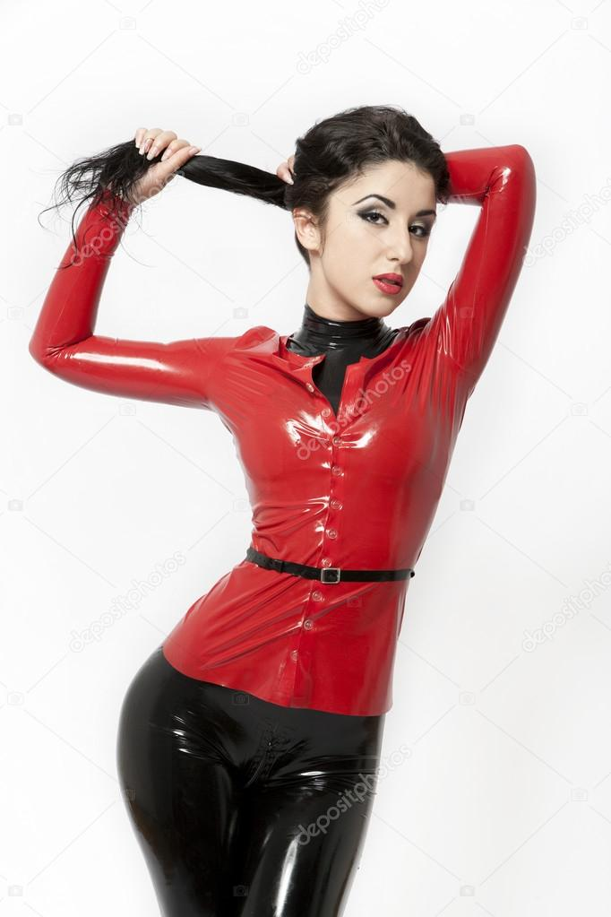 Hungry Red In Black Latex Photos 1