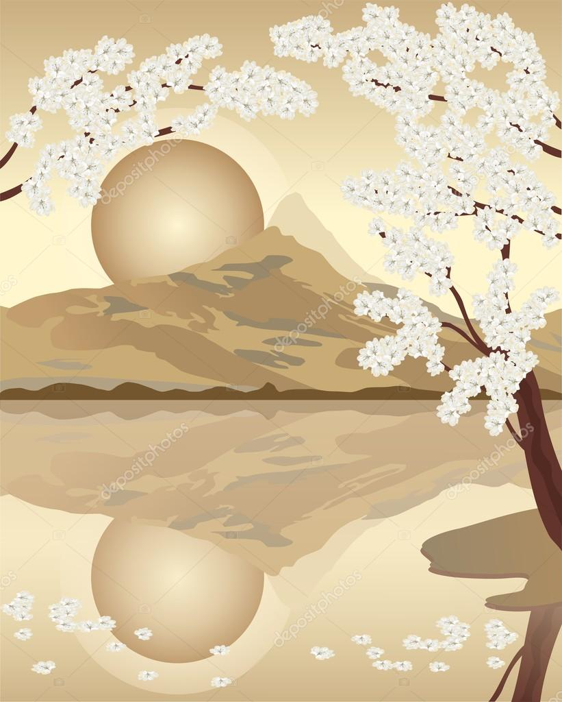 Cherry blossom.  Japan. Mountain View.