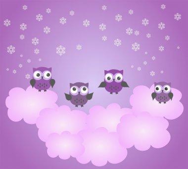 Owls play. Trampoline cloud.  Children's wallpaper.
