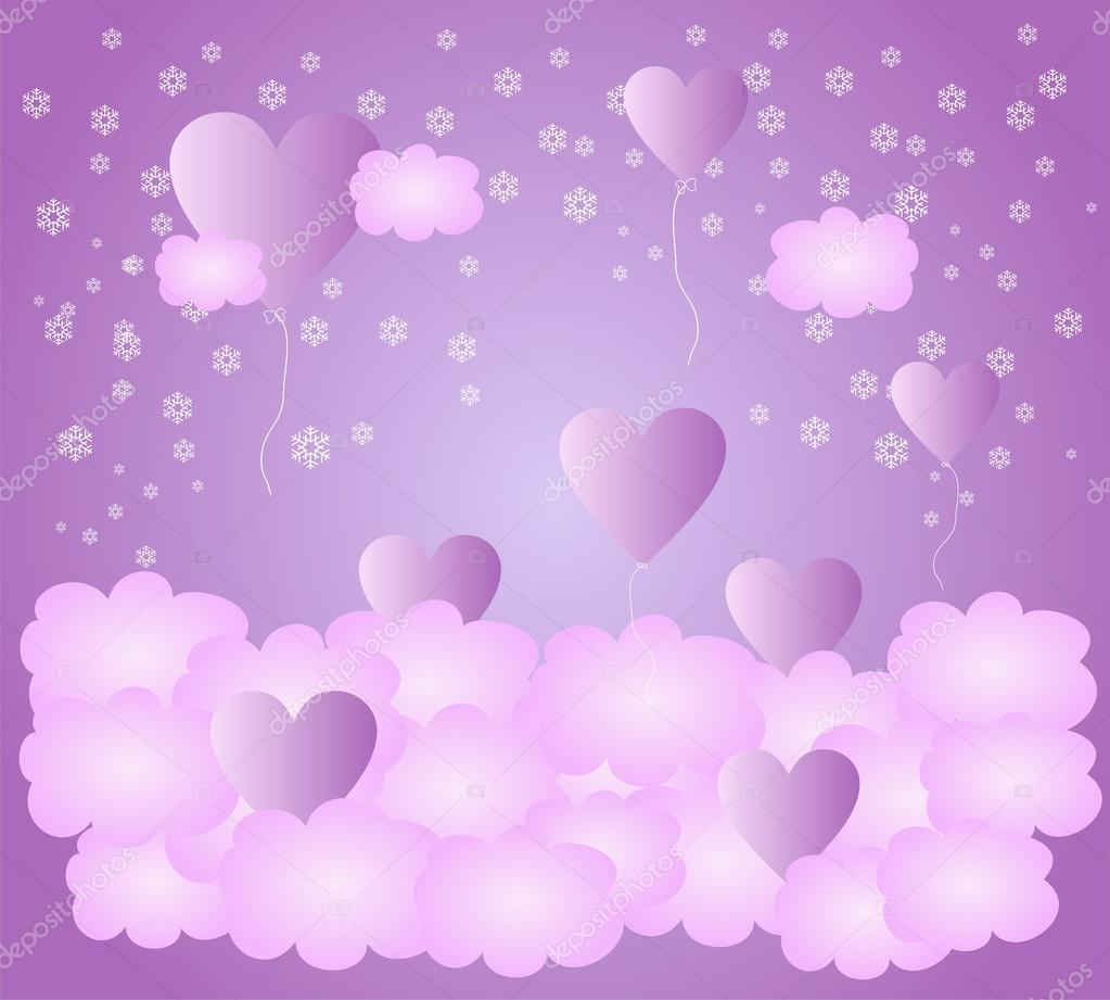 Flying heart in the clouds.