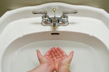 Sink full of water