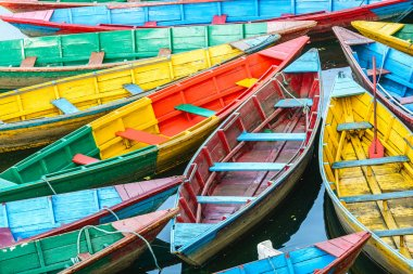 Rowing boats on the lake in Pokhara, Nepal