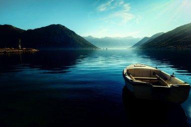 Early morning sunrise in Bay of Kotor, Perast, Montenegro