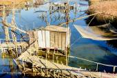 Fotografie Fishing huts on Port Milena near Ulcinj city, Montenegro