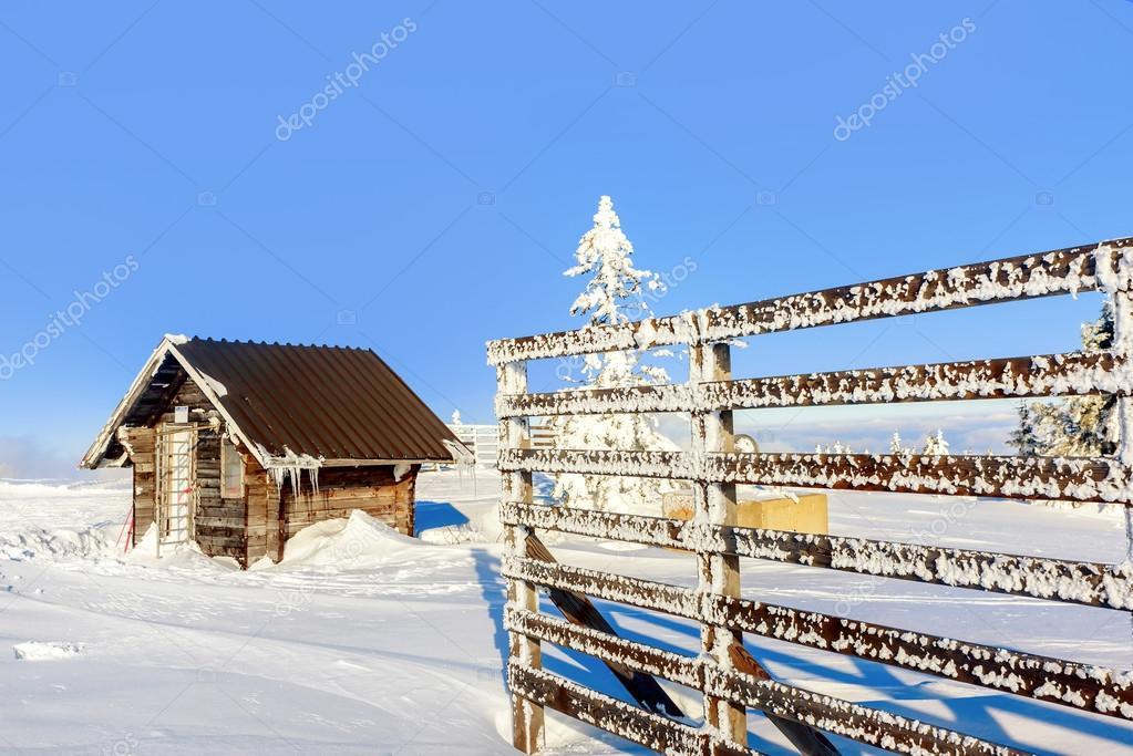 Cabina di legno in montagna kopaonik in inverno serbia for Cabina di legno