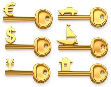 Gold keys symbolizing Euro,Dollar,Yen,House,Yacht and car. Concept illustration