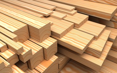 Construction materials. Closeup different wooden boards and plank. Industrial 3d Illustration
