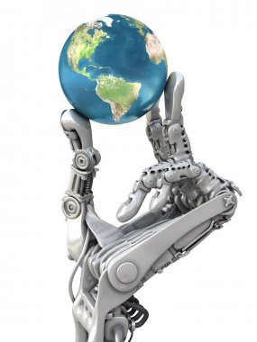 Robot holding the blue globe. Planet Earth in hands at high technology. Conceptual 3d illustration.