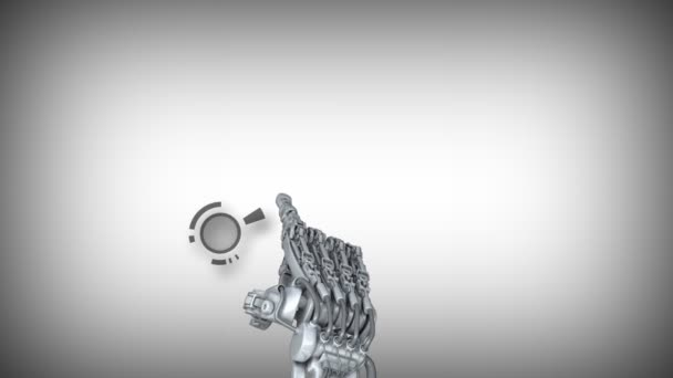 Fantasy robot arm works with touch screen. On the screen appears abstract informaton.  High technology 3d animation