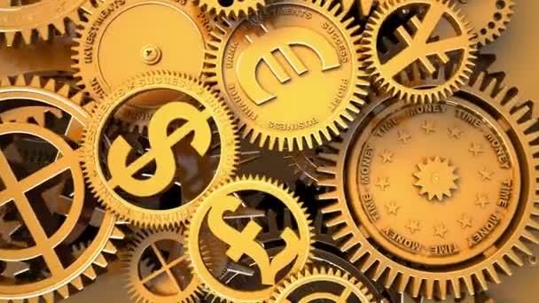 Time-Money. Fantasy business clockwork. Conceptual 3d animation. Camera flying through clockwork.