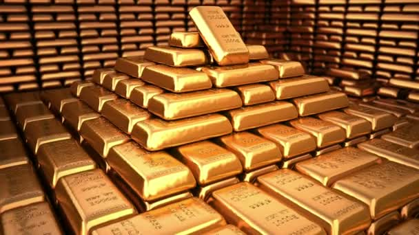 Pyramid of fine gold bars in bank vault or safe. Business 3d illustration.