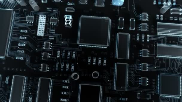 Modern electronic circuit board or mainboard with chips and microcircuits. High Technology 3d animation.