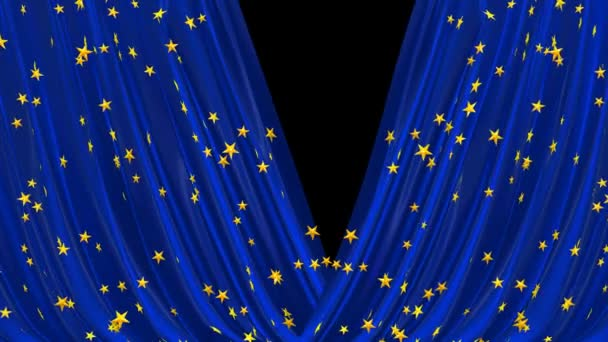 Open and close blue curtain with golden stars.
