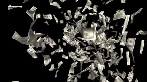 Money falling. Business and finance 3d animation. Added alpha channel.