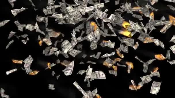 Falling dollar bills on fire on black background. Finance 3d animation. Added alpha channel.