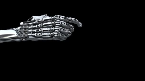 Robots hand clicks on something. Technology 3d animation