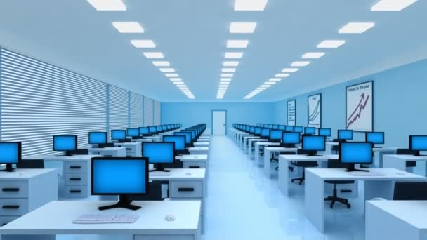 Modern office with a lot of computers. Business and technology 3d animation