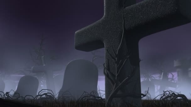 Halloween night in a gothic cemetery. Horror 3d animation. The Moon transforming into jack o lantern of pumpkin
