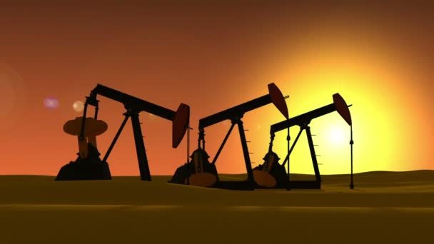 Working pump jack in desert. Oil industry 3d animation