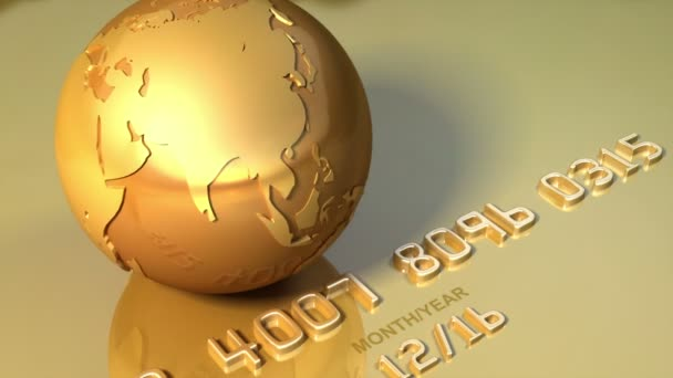 Golden globe rotates around his axis on golden credit card. Business, travel 3d animation for video background