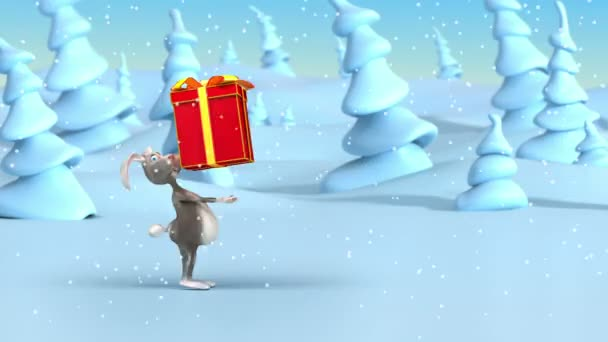 Cartoon rabbit drags big Christmas gifts in holiday red boxes at fantasy winter forest. Loop 3d animation