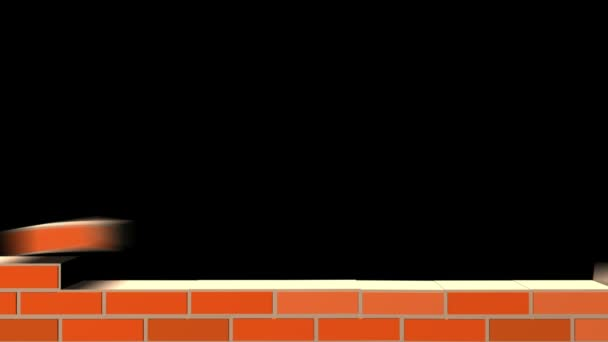 Building Wall of red bricks . Industrial 3d animation. Included alpha channel