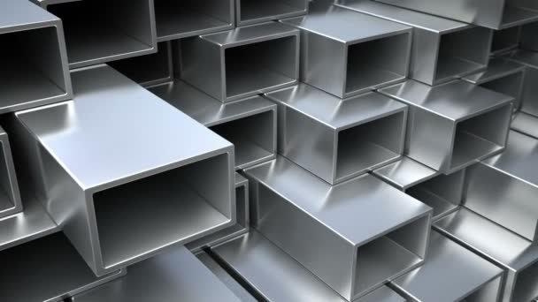 Metallic or aluminum square pipes on warehouse .Industrial Loop 3d animation.