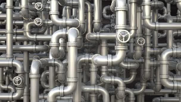 Labyrinth der Pipeline. Kamera fliegt über Pipelines Netzwerk. industrielle 3D-Animation