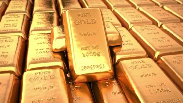 Golden ingots in bank vault or safe. Loop business 3d animation.