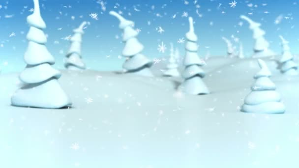 Snowfall at a fantasy forest. Christmas 3d animation.