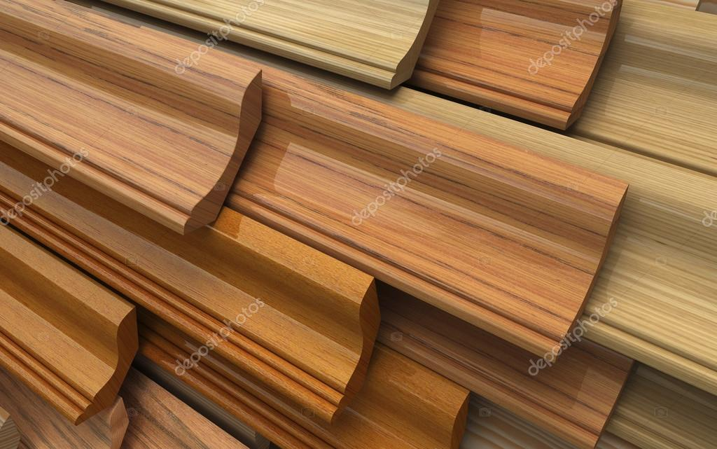 Different wooden plinth. Industrial 3d illustration