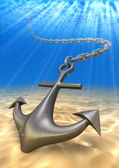 Photo underwater anchor and volume light. Travel 3d illustration