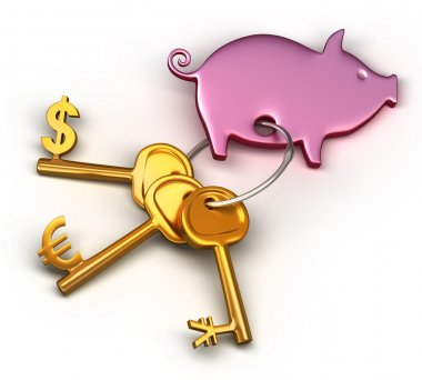 Piggy bank - keychain and different money keys. Key to the dollar, euro and Yen