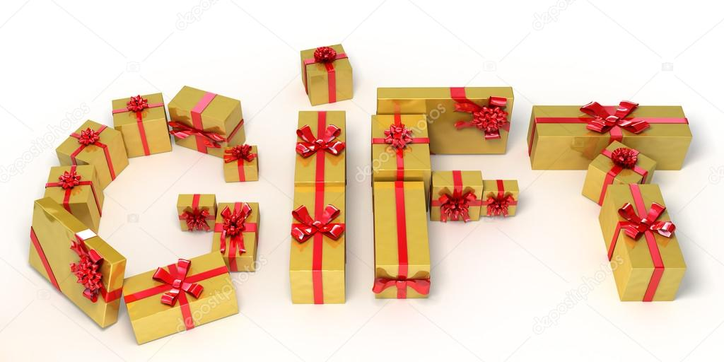 word gift made of golden gift boxes holiday 3d illustration stock