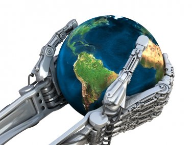 Robot holding the Earth globe. Planet in hands at high technology. Concept