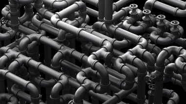 Fantasy pipeline at a chemical plant. Industrial  illustration.