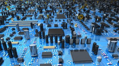 Fantasy circuit board or mainboard with microcircuits and processors. Technology  illustration