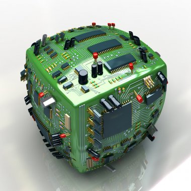 Fantasy electronics cube. conceptual technology 3d illustration