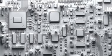 Fantasy circuit board or mainboard with  microcircuits and processors.