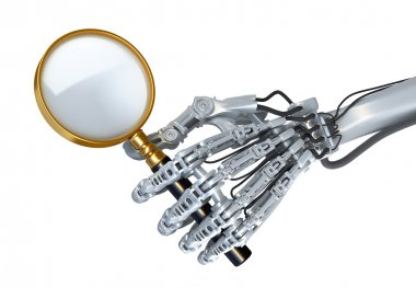 Closeup robotic arm. Robot seeks any information and uses magnifier glass.