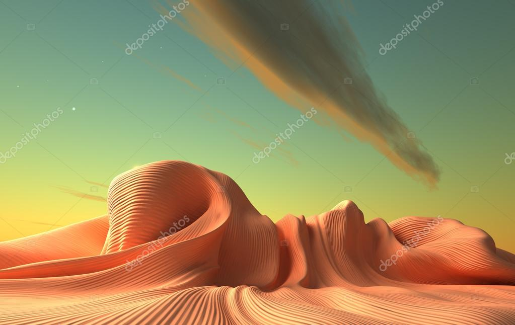 Alien world. Fantasy surreal  3d landscape