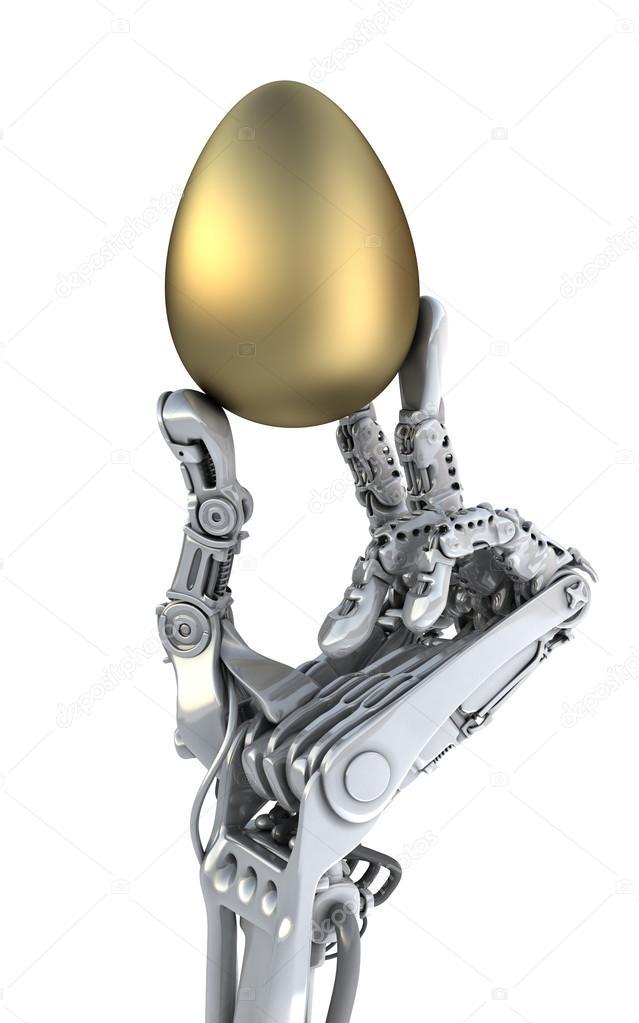 Robot hand  holding a golden Easter egg. Conceptual 3d illustration