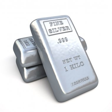 Set of fine silver bars on white background.  Finance 3d illustration