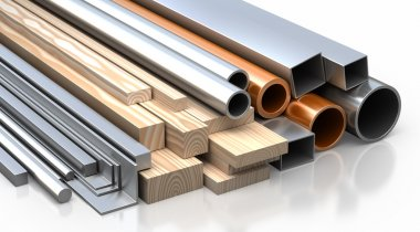 Set of planks, boards, metal tubes and pipes, metallic corners