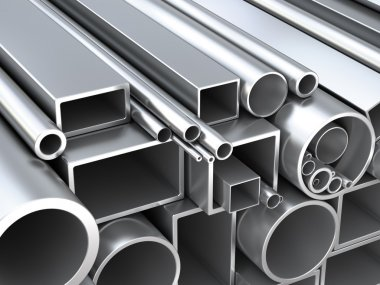 Metal round pipes and square tubes at warehouse. Construction 3d objects stock vector