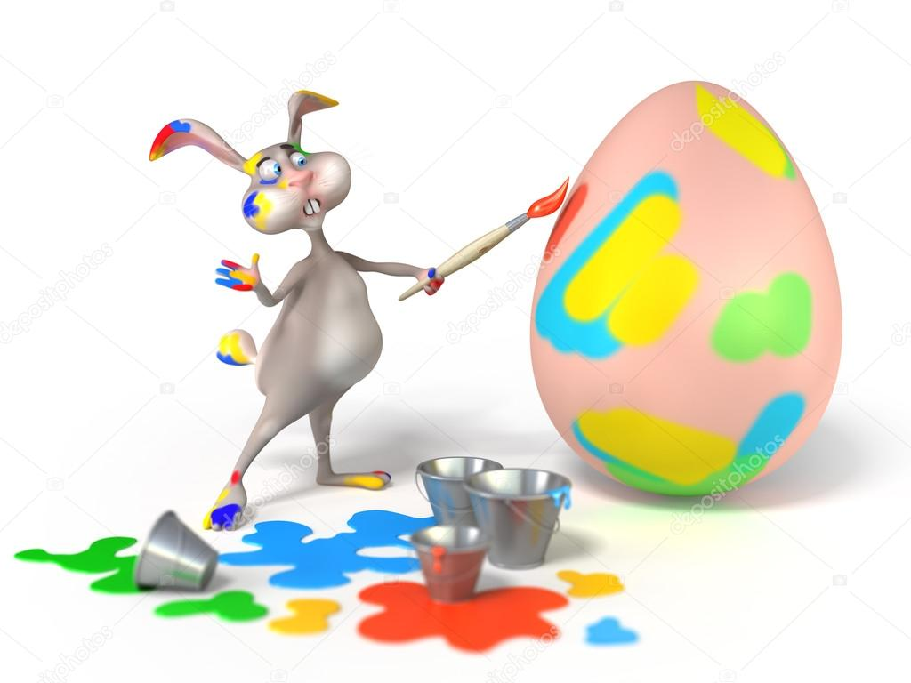 Cartoon Easter Bunny As Abstract Artist Is Painting On A
