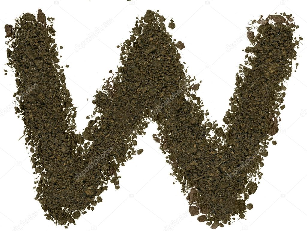 Alphabet Of Soil Block Capitals Letter W  Stock Photo  Inokos